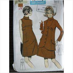 """Vintage 1970's LeRoy weldons pattern 8826 ladies dress & jacket Bust 34"""" buy now at ebid"""