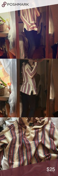Cotton woven sweater Great condition almost new. Last photo shows a small area that was stitched back together after getting a small hole. Can't really tell. Gorgeous and colorful. Split sides. Hooded. Creme color. The little strings hanging out of the front pocket are nothing and I will cut them off before sending hologram Sweaters
