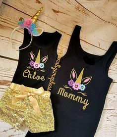 Mommy and daughter matching Unicorn Birthday Outfit Black Tank Top Unicorn Tank Top Birthday Party Outfits, Unicorn Birthday Parties, Special Birthday, Birthday Ideas, 5th Birthday, Birthday Crafts, Cake Birthday, Birthday Activities, Unicornio Birthday