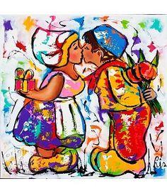 """Vrolijk Schilderij 60 x 60 cm schilderij """"Marietje kust Jannes"""""""