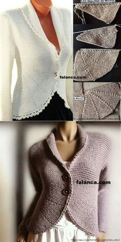 knitted jacket but could do in tunisian crochet with some short row technique… Crochet Jacket, Crochet Blouse, Knit Jacket, Knitting Stitches, Knitting Designs, Free Knitting, Tunisian Crochet, Knit Crochet, Crochet Shawl