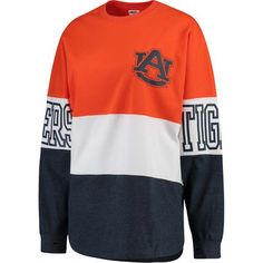 Auburn Tigers Women's Orange Clarity Oversized Long Sleeve T-Shirt