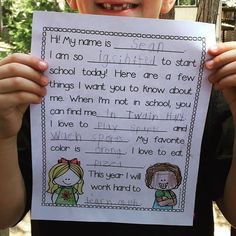 Back to School Mad Libs! Kids fill in information about themselves on the first day of school!