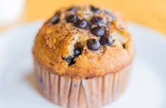 Moist and not too sweet, these banana-chocolate chip muffins are tasty for breakfast, dessert, or a snack.