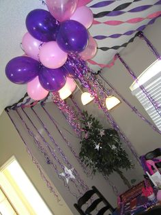 Pink and Purple Balloon set up.