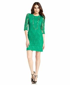Spense Petite Three-Quarter-Sleeve Lace Dress - Petite Dresses - Women - Macy's