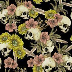 skulls & flowers #pattern