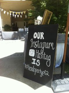 Create a hashtag for your wedding so you can see everyone else's pictures too! wedding chalkboard    instagram chalkboard