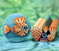 FISH KIT : Set of 6 Orange Polymer Clay Canes 5dd example | Etsy Polymer Clay Animals, Polymer Clay Canes, Polymer Clay Jewelry, Basic Hand Embroidery Stitches, How To Make Clay, Play Clay, Clay Tutorials, Clay Creations, Clay Crafts