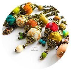 Colliers textiles Rondo. Création Les Jardins de Kahlan.