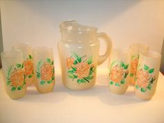INDIANA GLASS CO. vintage prob. early 70s Hand Painted PITCHER & 6 GLASSES #4241