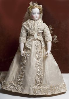 15 (38 cm.) Beautiful French Fashion Bisque Doll with Rare Body from Maison Giroux in wedding costume Antique dolls at Respectfulbear.com