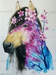 Spring horse by Jonna Lamminaho (Scandy_girl) flowered horse Horse Drawings, Animal Drawings, Art Drawings, Painted Pony, Desenho Tattoo, Unicorn Art, Equine Art, Animal Tattoos, Horse Tattoos