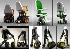 "Elevating electric wheelchair by designer Jake Eadie. These wheelchair concepts were designed to be adjustable in 2 modes, sitting and standing. They ""challenge able-bodied people's perceptions of wheelchair users."" #NMEDA"