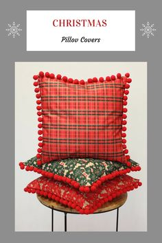 Back to the traditions - pilow covers with pom pom trim - CHRISTMAS collection