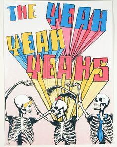 The Yeah Yeah Yeahs gig poster ( karen 0 / indie art rock / skeletons / screen print / graphic design ) Rock Posters, Band Posters, Concert Posters, Music Posters, Gig Poster, Poster Wall, Kinds Of Music, Music Is Life, My Music