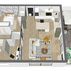 Projet en cours : Aménagement T3 neuf avec cuisine ouverte sur le salon et création d'une verrière entre le bureau/chambre d'amis et le salon pour laisser entrer la lumière (important pour le télétravail). On privilégie les matières naturelles (bois, terrazzo, coton/lin...) et les couleurs sobres pour une ambiance ethnique chic. plus d'infos www.adkoat.com Important, Terrazzo, Decoration, Floor Plans, Bedroom Office, Walk In, Ethnic, Colors, Projects