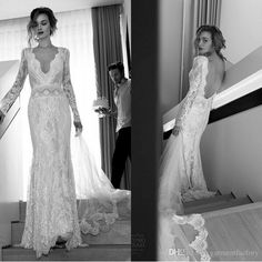 Lihi Hod 2015 Sexy Long Sleeved Lace Wedding Dresses Sheath Deep V Neck Backless Vintage Fitted Brides Dresses Custom Made Online with $183.25/Piece on Garmentfactory's Store | DHgate.com
