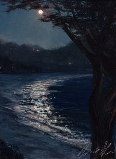Carmel Moonrise by James McGrew Oil ~ 12 x 9 Beach Night, Pastel, Oil, River, Celestial, Landscape, Drawings, Painting, Outdoor