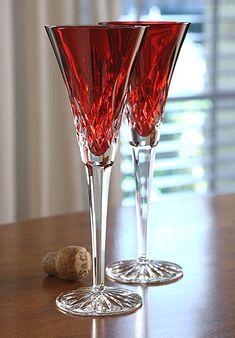 Waterford Lismore Crimson Flute, Pair
