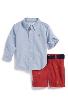 Free shipping and returns on Ralph Lauren Oxford Shirt & Embroidered Shorts (Baby Boys) at Nordstrom.com. Rolled button-tab sleeves and tonal logo embroidery provide dashing finishing touches for a crisp oxford shirt. Shorts embroidered with nautical icons and a coordinating woven belt complete the preppy warm-weather ensemble.
