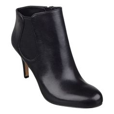 """Our Rallify pull-on booties feature a foot-flattering almond-toe design. Stretch side goring makes pulling these booties on and pulling them off a breeze. Padded footbed for all-day comfort. Leather or suede upper. Man-made sole and heel. Imported. 3 1/4"""" high heels."""