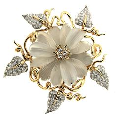 Hand Carved Crystal Diamond Gold Flower Brooch | From a unique collection of vintage brooches at https://www.1stdibs.com/jewelry/brooches/brooches/