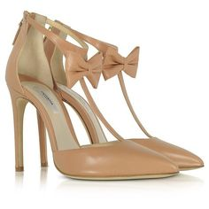 Olgana Paris Shoes La Garconne Nude Leather High-Heel Pump ($795) ❤ liked on Polyvore featuring shoes, pumps, nude shoes, nude high heel pumps, pointed toe ankle strap pumps, pointed-toe pumps and high heel shoes