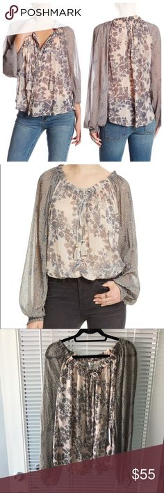 Free People Hendrix Versatile Printed Blouse Brand new with tags, flawless. Chic florals are featured on a lightweight chiffon fabrication. Drawstring tie at the collar allows for versatile wear. Long raglan sleeves with gathered cuffs. Hidden button placket. High-low shirttail hemline. 100% nylon. Color is Ivory Free People Tops Blouses