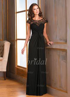 Mother of the Bride Dresses - $145.05 - Sheath/Column Scoop Neck Floor-Length Chiffon Mother of the Bride Dress With Ruffle Appliques Lace (0085095782)