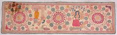 """Arsilata Kantha C. 19th Century A.D. Size:14""""X 8"""" Khulna Undivided Bengal A collection of the Gurusaday Museum, Joka, Kolkata  Arsilata kanthas are meant to cover the mirrors in the Bengali Households."""