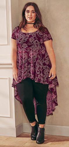 Plus Size Paisley Print Chiffon Extreme Hi-Lo Top Plus Size Fashion For Women, Plus Size Womens Clothing, Plus Size Outfits, Clothes For Women, Plus Fashion, Women's Clothes, Size Clothing, Curvy Girl Fashion, Boho Fashion