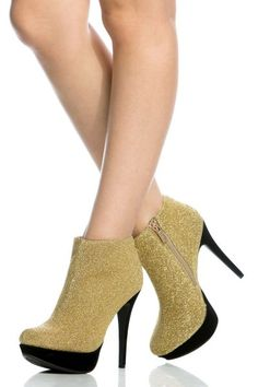Gold Woven Platform Ankle Booties