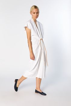 Knot Dress, Denim in White