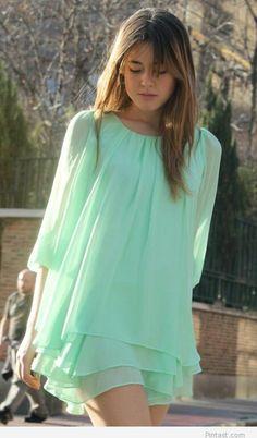 Simple light green dress