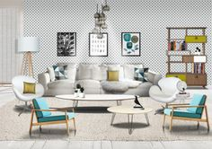 Scandinavian modern and mid century modern living room made by photoshop
