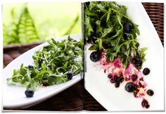 Arugula salad with blueberry preserve and sage dressing