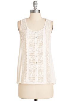 The Story of Illustrious Tank. When asked to elaborate on anecdotes of you and your sweetheart, tale it like it is in this lovely lace-paneled tank! #white #modcloth