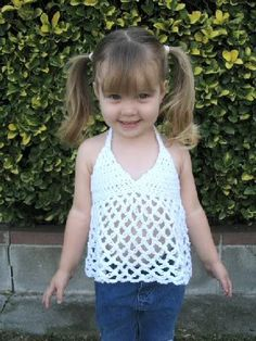 Toddler Halter Top - CROCHET - I couldn't find a pattern I liked, so I made my own. I didn't have enough yarn to make it quiet long enough - I would have added ano Baby Girl Crochet, Crochet Baby Clothes, Cute Crochet, Crochet For Kids, Crochet Toddler Dress, Crochet Summer Tops, Crochet Halter Tops, Crochet Bikini, Kids Outfits