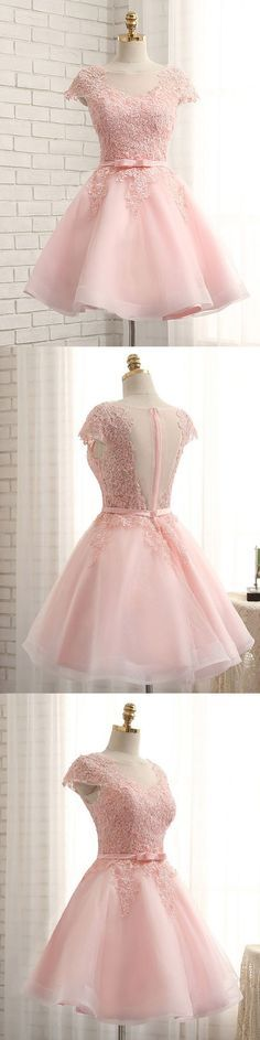 Princess pink lace appliqued homecoming dresses for 2017 season,short prom dresses,cheap homecoming dresses,graduation dresses.#she