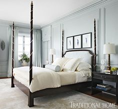 A stately four-poster bed with a quilted headboard anchors the room. - Photo: Werner Straube / Design: Lori Lennon