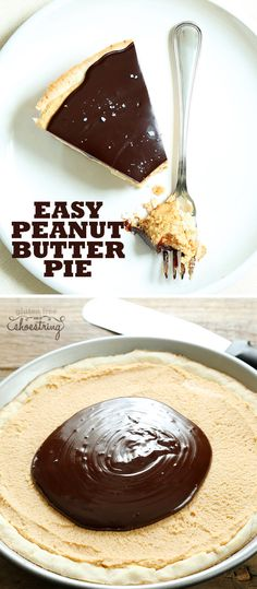 An easy press-in gluten free shortbread crust filled with a smooth and creamy no-bake peanut butter pie filling, topped with chocolate ganache. So easy!