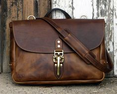 "Soho 16"" Mailbag, Brown Dublin Horween Leather Messenger Bag with Quik Latch, Shoulder Bag, Vintage Mail Bag"