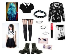 """""""Rayne's First Day outfit"""" by jordaninsanity ❤ liked on Polyvore featuring Killstar, Pretty Polly, Jeffrey Campbell, Iron Fist and Lime Crime"""