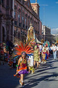 Aztec dancers in San Luis Potosi (with virgin)