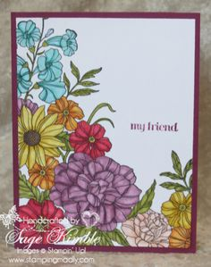 If you like to color stamped images, then you'll love the Corner Garden stamp from Stampin' Up!'s new 2014 Annual Catalog.  This is a background stamp, but as you can see, it can easily become the focal point of your handmade card when you fill in all the flowers and leaves. www.stampingmadly.com