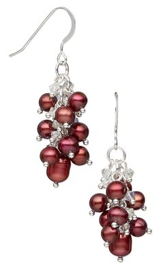 Earrings with Cultured Freshwater Pearls and Swarovski Crystal Beads by Esther Pollock.