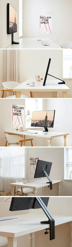 Samsung's latest space-saving design-driven monitors are an absolute win Invention Of Science, Tv Cart, Swivel Tv Stand, Domestic Appliances, Computer Set, Cool Desktop, Types Of Rooms, Desk Setup, Mounted Tv