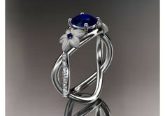 Custom Ring Engagement Ring Sapphire White Gold Leaf 39