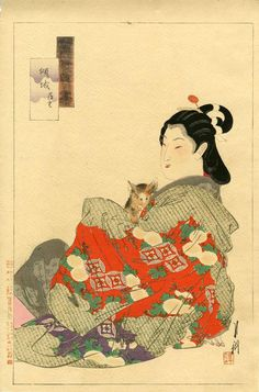 Japanese BobTail Kitty - Japanese Wood Block Print